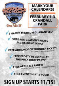 Adirondack Pond Hockey Tournament @ Crandall Park