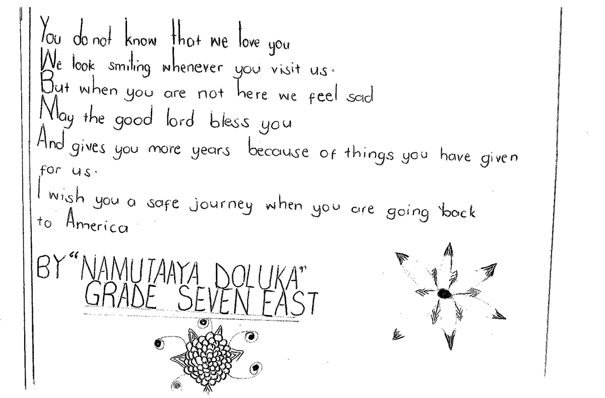 Letter from child, Namutaaya.