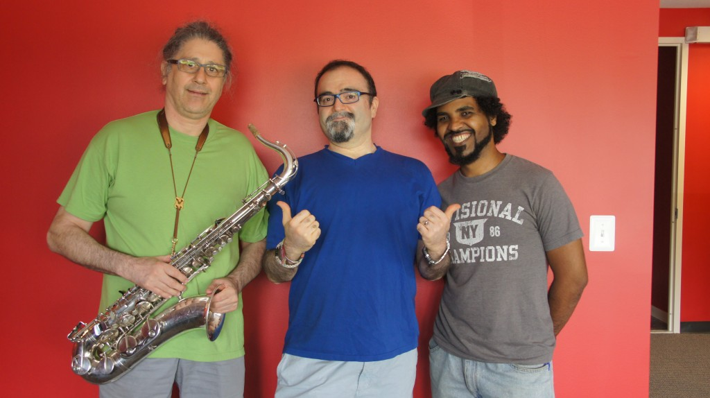 Sohrab, Ardavan Roozbeh & Mosno Al-Moseeki @ Radio Koocheh, August 11, 2013 (photo courtesy of Radio Koocheh)