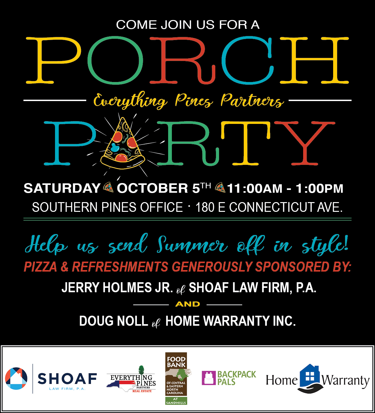 Pizza Party Invite OCT19 food bank logos