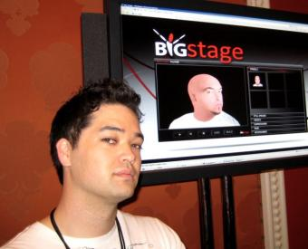 BigStage founder Jonathan Strietzel mugs in front of Steven Harwell's avatar.