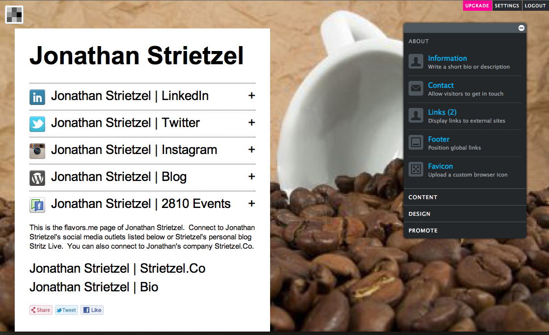 Jonathan Strietzel | Flavors.Me | Bio | Social Media