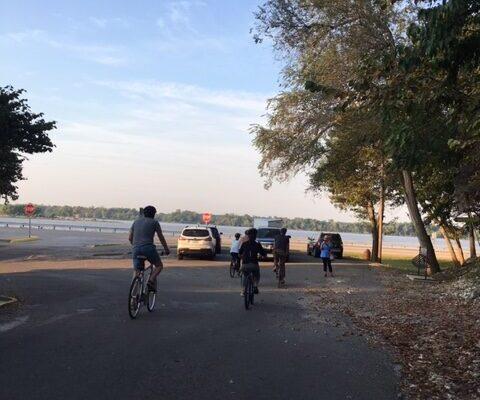 riding bike to river