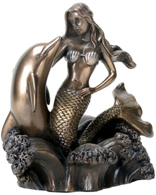 "4.5""H Cold Cast Bonded Bronze Mermaid on Dolphin Figurine"