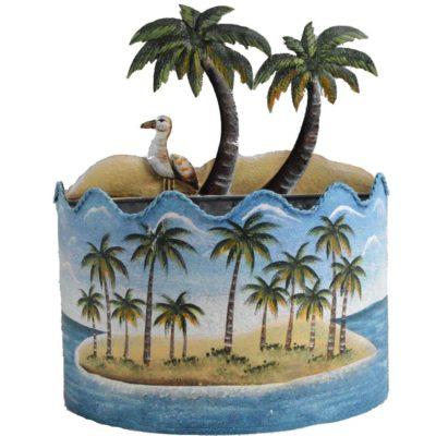 "9"" Metal Tropical Hanging Palm Tree Beach Galvanized Planter"