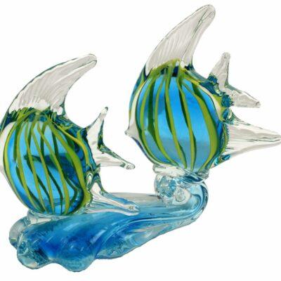 "8.5"" Handmade Glass Blue and Yellow Angel Fish Figurine"