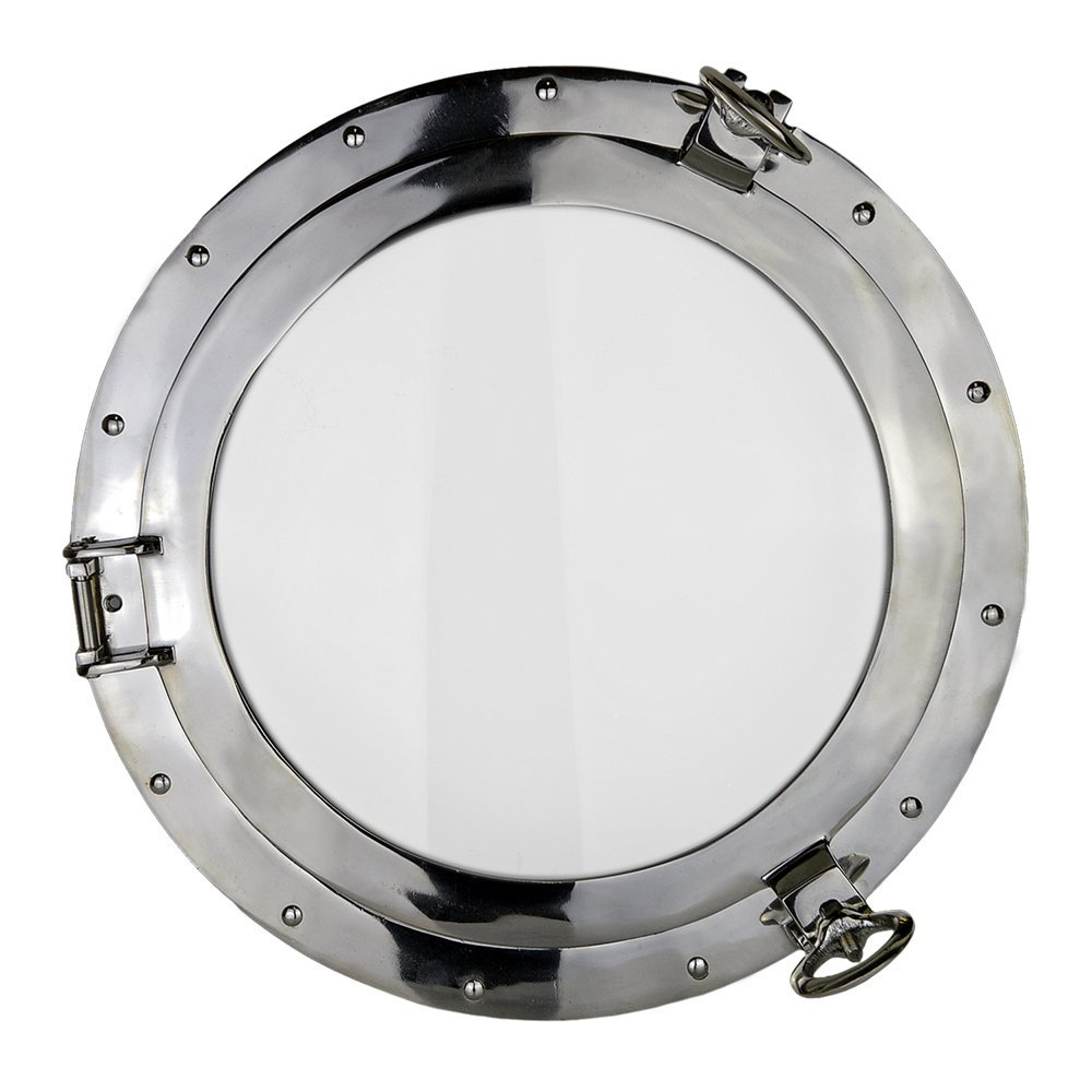 "17"" Nickel Finish over Solid Brass Porthole Window"