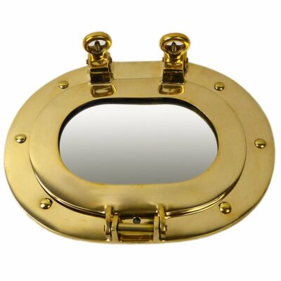 "9.5"" Oval Solid Brass Wall Mount Porthole Mirror"