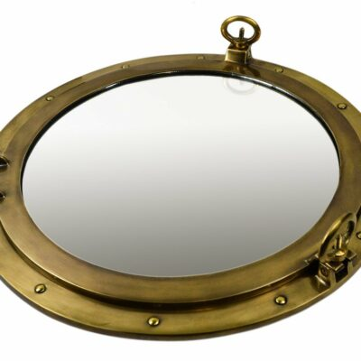 "20"" Antique Brass Finish over Solid Brass Wall Mount Porthole Mirror"