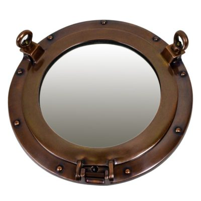 "11.5"" Antique Finish over Aluminum Wall Mount Porthole Mirror"