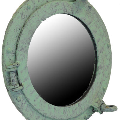 "11.5"" Verde Patina Finish over Aluminum Wall Mount Porthole Mirror"
