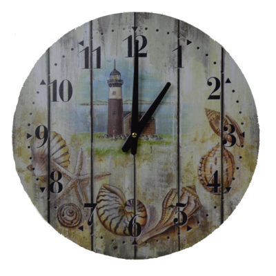 """15.5""""L Wooden Weathered Lighthouse Clock - Wall Decor"""