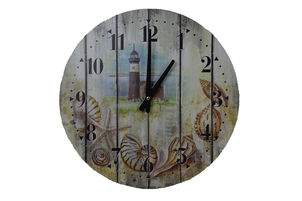 "15.5""L Wooden Weathered Lighthouse Clock - Wall Decor"