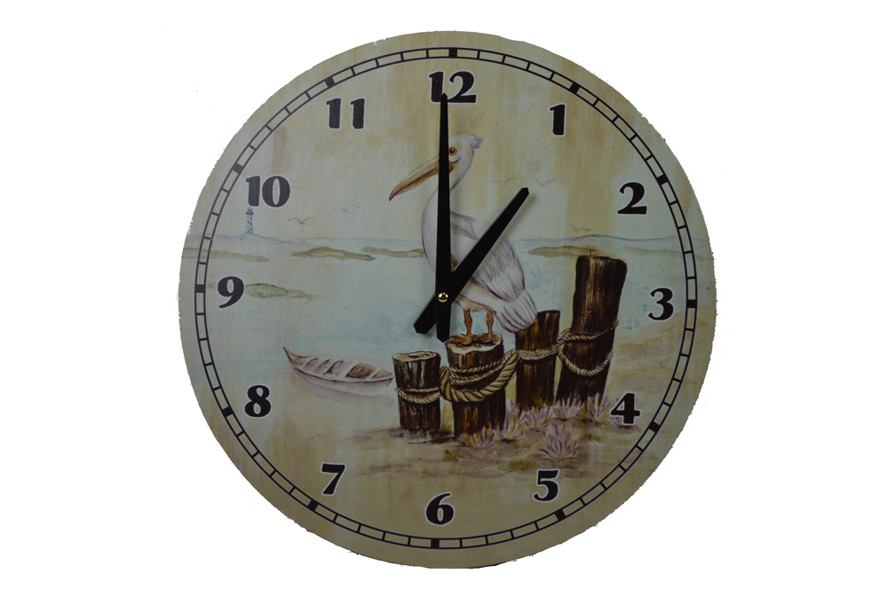 """15.5""""Dia Wooden Weathered Pelican Wall Clock"""