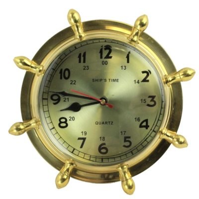 """9"""" Brass Lacquered Ship's Wheel Clock - Hanging Wall Decor"""