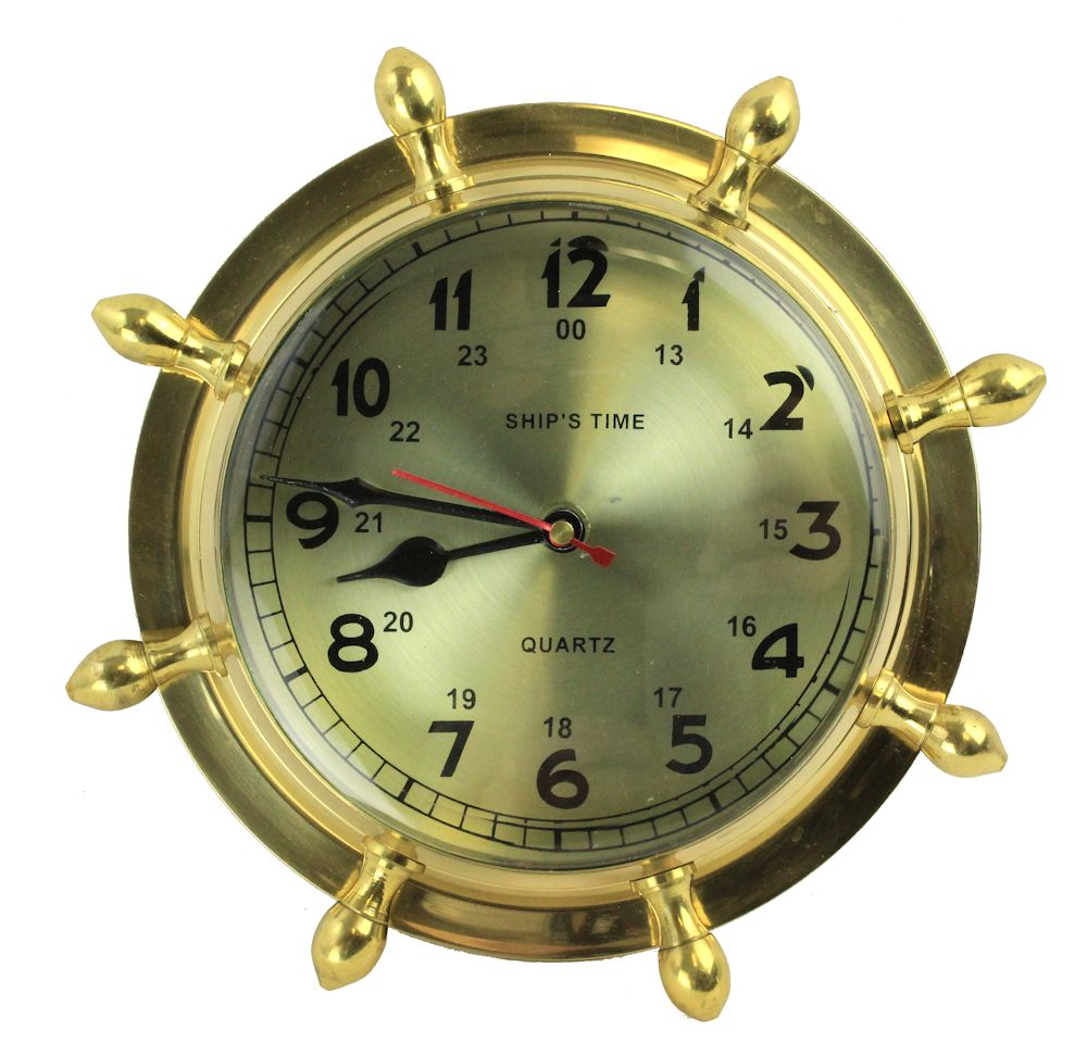 "9"" Brass Lacquered Ship's Wheel Clock - Hanging Wall Decor"