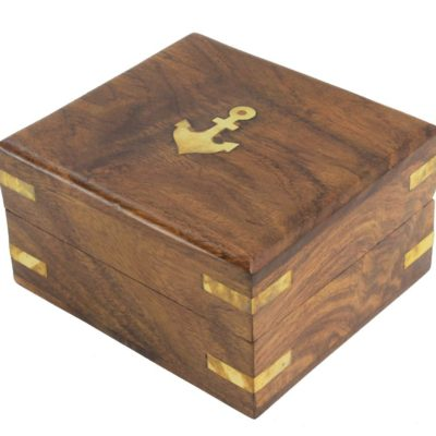 """4.5"""" Wood and Brass Decorative Anchor Box"""
