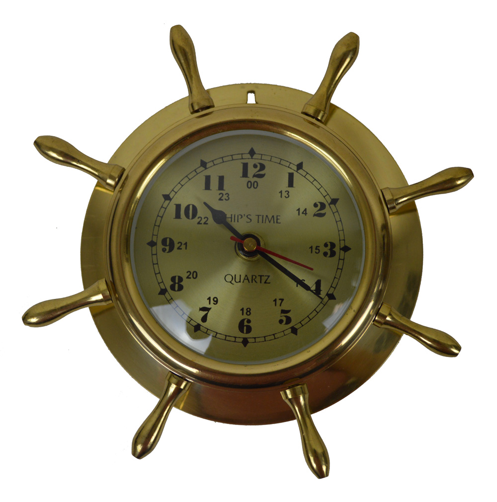 "9""Dia Solid Brass Ships Wheel Clock - Wall Decor"