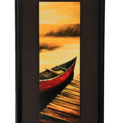 "15.75"" Red Canoe Pier Scene Painting - Framed and Matted"