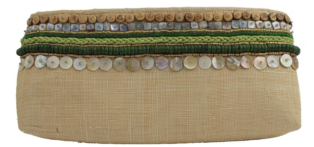 """12""""L Bali Natural Green Clutch Handbag with Seashell and Bead Inlay"""
