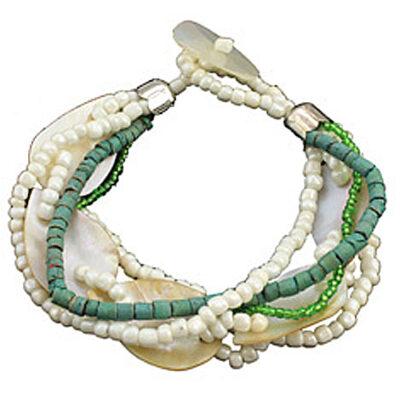 """Cozumel Lime Green Beaded Bracelet 9""""L"""