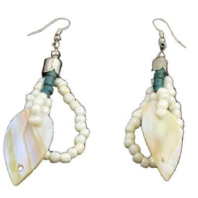 """Cozumel Lime Green Beaded Earrings 3""""L"""