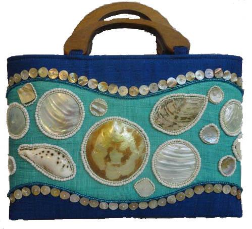 "16""L Aruba Royal Blue Angled Large Tote-Style Handbag with Bead and Seashell Inlay, Wood Double Handle"