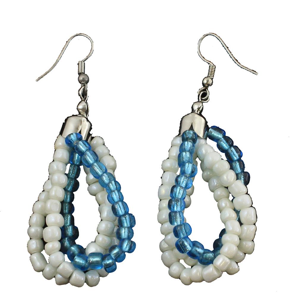 """Aruba Royal Blue Beaded Earrings 2.5""""L"""