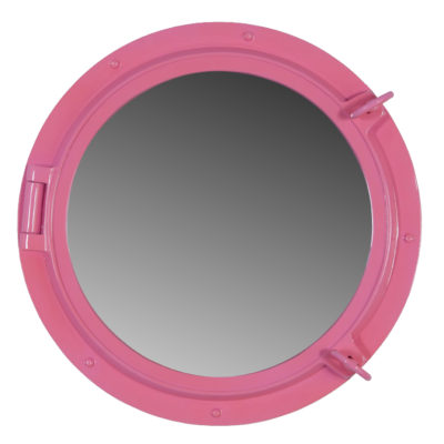 "24"" Pink Finish Wall Mount Porthole Mirror"