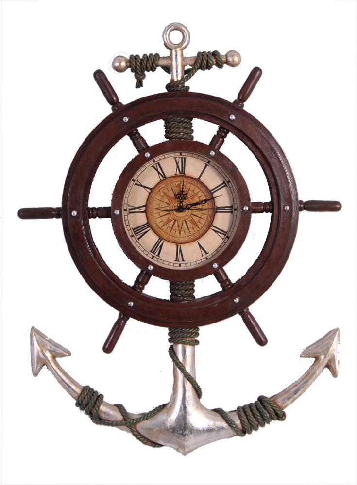 """33"""" H Anchor and Shipwheel Wall Mount Clock"""