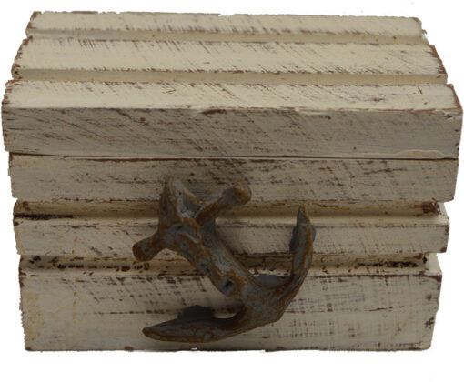 """Medium White Wash Chest with Anchor 3.75""""W Wood"""