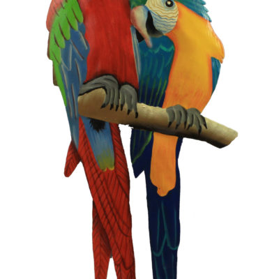 """18"""" Medium Metal Red and Blue Parrot Pair Wall Art"""