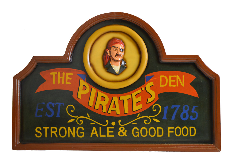 The Pirate's Den Hanging Wooden Wall Sign