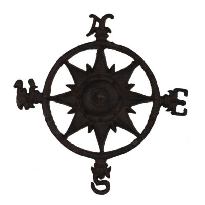 "11.5""Diameter Rustic Finish Iron Compass Rose Wall Decor Figure"