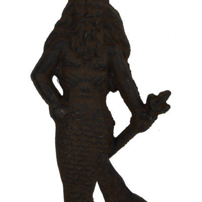 "8.5""H Cast Iron Neptune Male Mermaid Wall Hook"