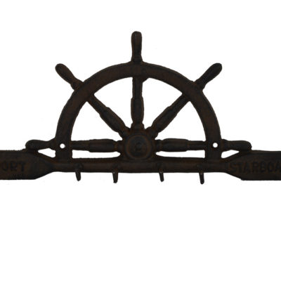 "10.5""L Cast Iron Ships Wheel Shaped Key Rack Wall Decor"