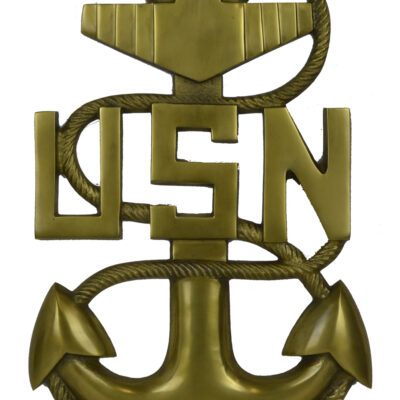 "18""H U.S. Navy Anchor Wall Plaque - Antique Brass over Aluminum"