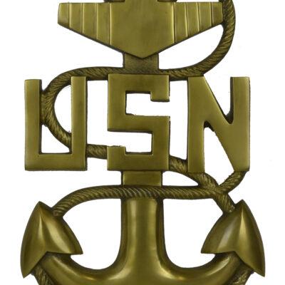 "18""H U.S. Navy Anchor Wall Plaque - Antique Brass over Aluminum"