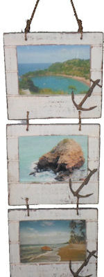 """Wood Triple Vertical Picture Frames with Anchor 23""""H"""