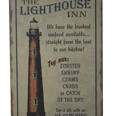 "16""H The Lighthouse Inn Nautical Necessities Tin Sign"