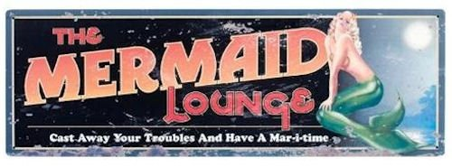 "The Mermaid Lounge Tin Sign 24""L Nautical Tropical Home Decor"