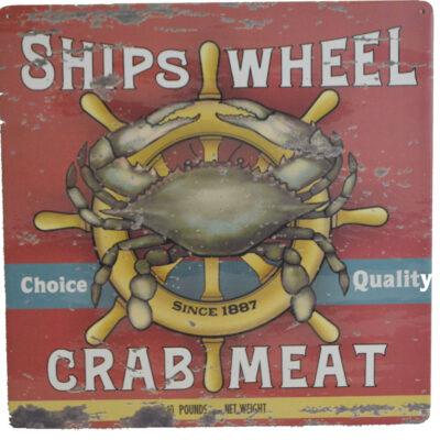 "12""h Ships Wheel Crab Meat Tin Sign"