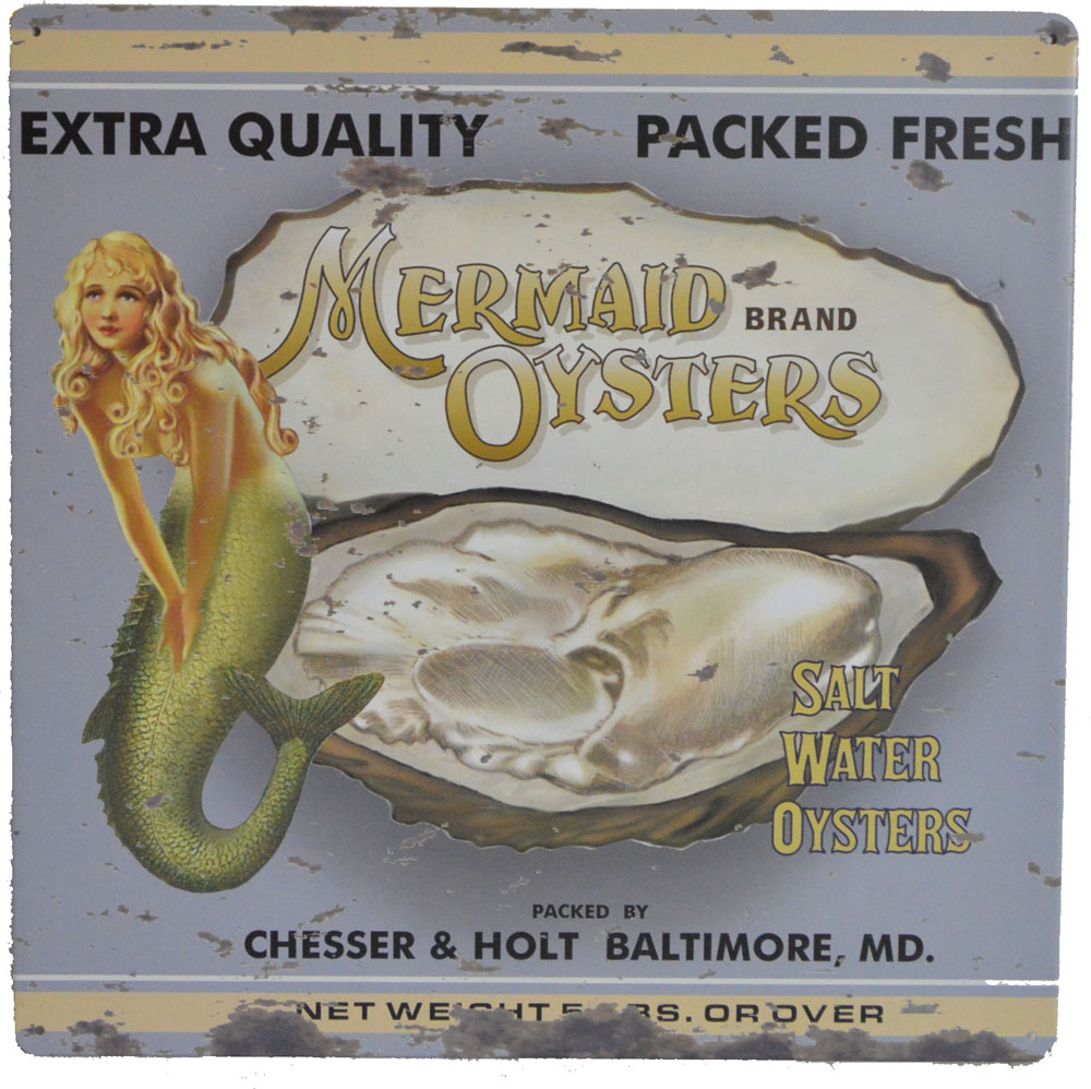"""12""""H Mermaid Oysters Brand Tin Sign"""