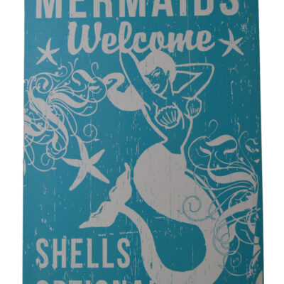 """26""""H Mermaids Welcome - Shells Optional - Blue Ocean Breeze Wall Canvas"""