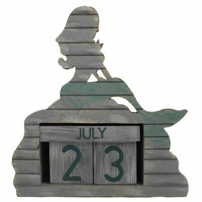"""8"""" Weathered Wooden Dock Mermaid Perpetual Calendar"""