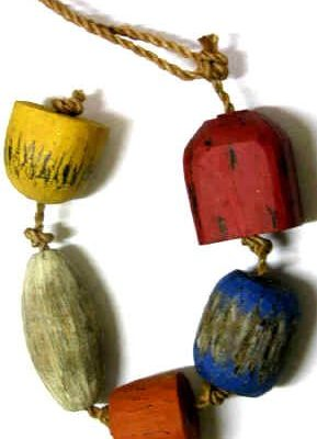 Fishing Floats 5 Assorted Wood Buoys Nautical Decor