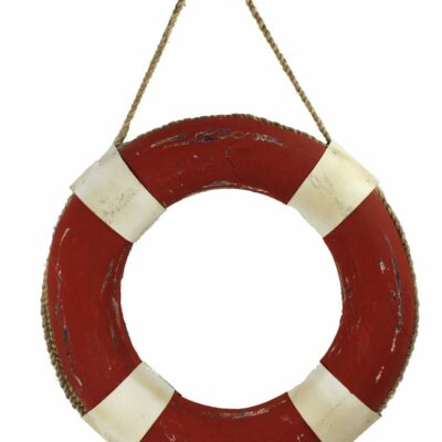"19"" Orange and White Distressed Wooden Life Ring Wall Decor"