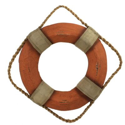 "15""Dia Orange and White Wooden Life Ring Wall Decor"