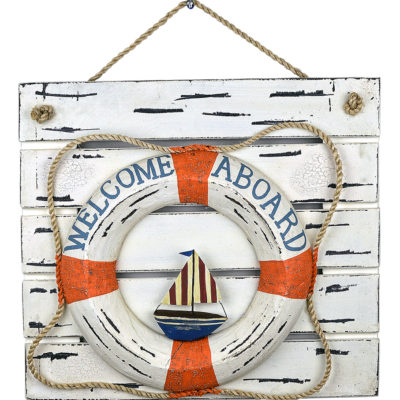 """23""""L Wooden Square Frame with Welcome Aboard Lifering Hanging Decor"""