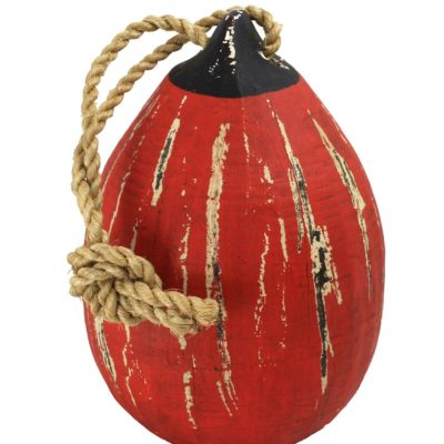 """11""""H Distressed Red Wooden Hanging Teardrop Buoy"""